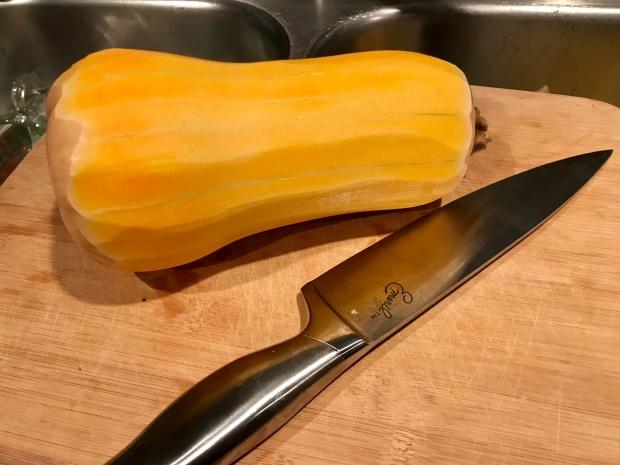 how to cut butternut squash in half